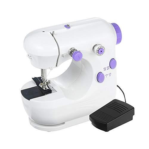 Decdeal - Máquina de coser eléctrica, máquina de coser portátil, doble hilo y velocidad con cortador y luz rebobinado automático, funcionamiento con pedal multifunción
