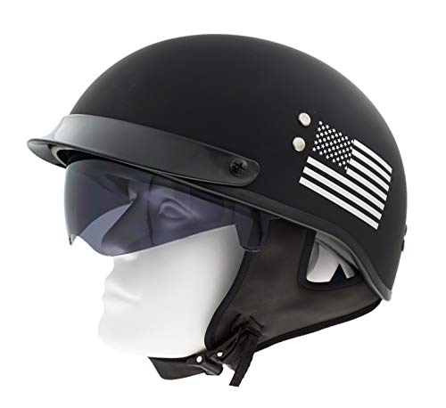 Motorcycle Biker Half Open Face Flat Black Helmet with Drop Down Sun Shield DOT Approved
