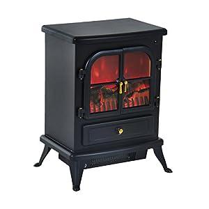 HOMCOM Chimenea Eléctrica de Pie Movible y Decorativo Calefactor Estufa 950/1850W Llama LED con Remoto Control Termostato Temporizador 42.5x28x54cm