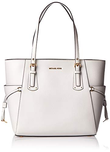 """Optic White crossgain leather w/ golden hardware. Open top. Exterior two side slip pockets. Shoulder strap with 9"""" drop. Logo-jacquard lining. Interior center and back-wall zip pockets. Two back slip pockets, Six front slip pockets. Large size tote: ..."""