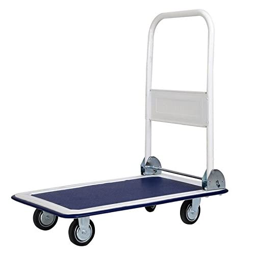 Moving-Grocery Cart Folding-Shopping Cart-Premium 330lbs Platform Cart Dolly Folding Foldable-With 4 Wheel Cart, 2 Swivel And 2 Regular-Wonderful Choice For ...