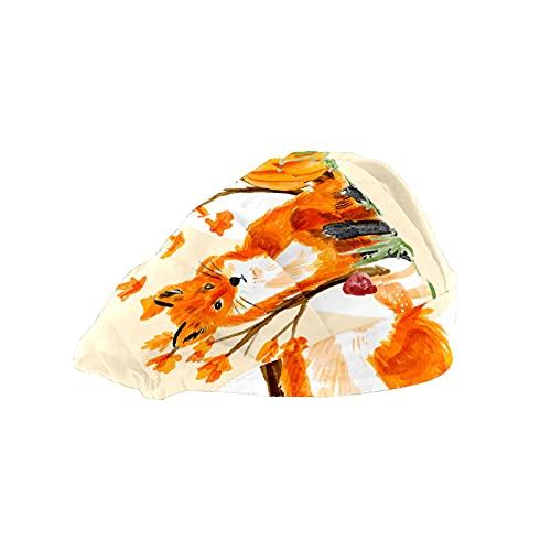 Gorra de mujer para cabello largo con banda elástica ajustable para el sudor Gorras de trabajo para hombres bufanda de cabeza impresa 3D sombreros de arce árbol calabaza hongo