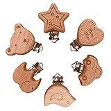 6 Stück Schnuller Clip Nuckelclip Baby Clip, Holz Schnullerclips Set, Säugling Schnuller Verschlüsse Halter Schnullerketten Clips Nippel Halter für Baby und Kindrene