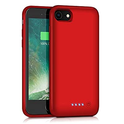 QTshine Battery Case for iPhone 6/6s/7/8, Upgraded [6000mAh] Protective Portable Charging Case Rechargeable Extended Battery Pack for Apple iPhone 6/6s/7/8 (4.7') - Red