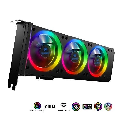 anidees Grafikkartenkühler 3 x 80 mm PWM Lüfter, unterstützt ASUS Aura SYNC/MSI Mystic Sync/GIGABYTE RGB Fusion (NUR 5 V, 3-polig, adressierbare Header) PCI-Halterung mit Remote-AI-GP-CL