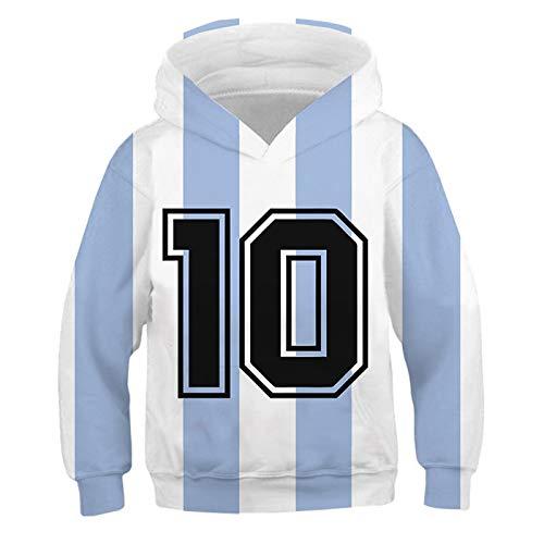 QLGRXWL Sudadera Maradona,Tribute To The Ball King Maradona,Sudadera Casual De Manga Larga con Capucha Y Cuello Redondo Otoño Invierno,120