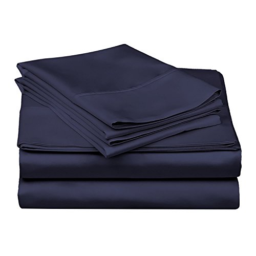 Bed Sheets - Campers Sheet Set - 100% Cotton -600 Thread Count - 4-8 Inch Deep Pocket Fitted Sheet Camp Bunk Beds/RVs/Guest Beds Soft & Luxurious Mattresses SheetSet (Navy Blue Solid - Full)