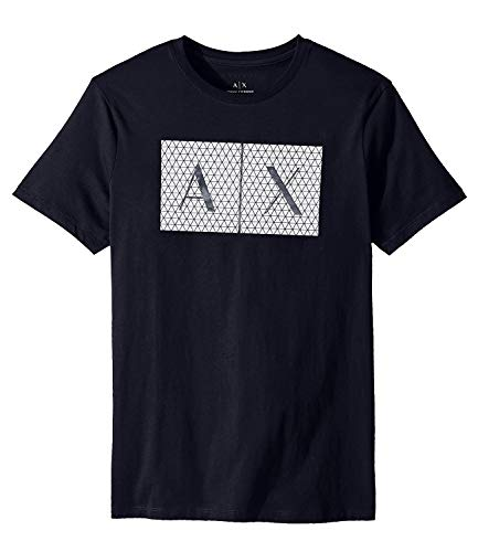 A|X Armani Exchange Men's Crew Neck Tee, Grid Logo Navy, XL