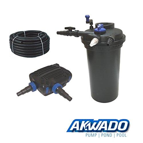 AKWADO Druckfilter-Set CPF-15000 inkl. 18 W UVC Klärer und Teichpumpe 8000 l/h für Teich Koi usw.