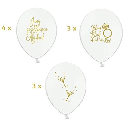 Princess Dreams Lot de 10 Ballons JGA Mix Blanc/doré