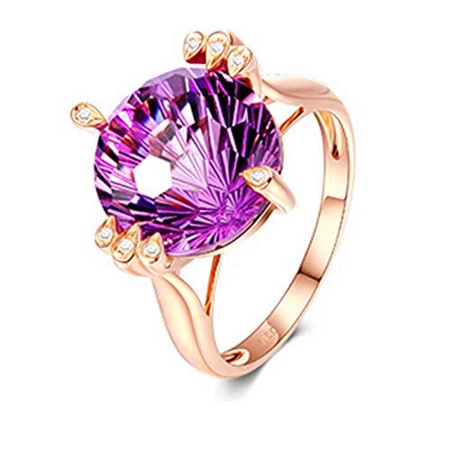 Aeici Alianzas Mujer Oro rosa 18k, Anillo Parejas Novios Amatista Diamante 7ct, Redonda, Talla 18,5