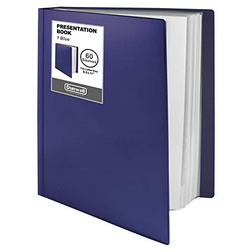 """Dunwell Binder with Plastic Sleeves - (Blue, 1 Pack), 60-Pocket Bound Presentation Book with Clear Sleeves, Displays 120 Pages of 8.5x11"""" Inserts, Sheet Protector Binder, Portfolio Folder"""