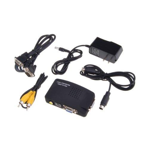 New TV RCA AV S-Video in to PC VGA LCD CRT Out Converter Adapter Switch Box