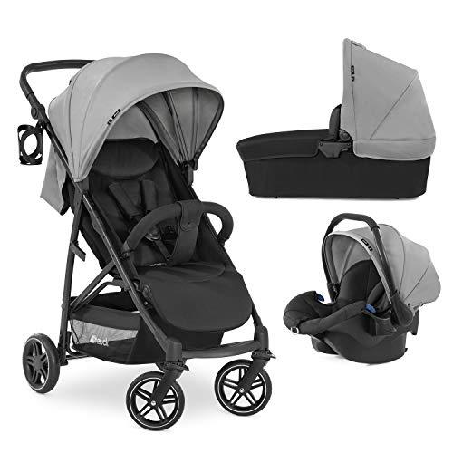 Hauck Rapid 4R Plus Trio Set 3 en1 soporta hasta 25 kg, silla auto compatible con isofix, capazo para bebés, manillar ajustable en altura + portavasos, capota XL con UV 50+, plegado compacto - gris