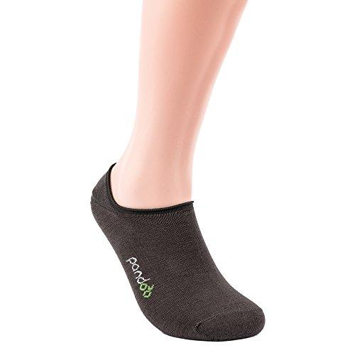 Bambus Füßlinge Socken - 6er Pack, pandoo Größe Größe 35-38, Farbe Grau