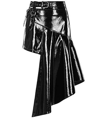Punk Rave Minifalda gótica de PVC para mujer, piel sintética, asimétrica, dobladillo irregular, poliuretano sexy, Cyberpunk futurista