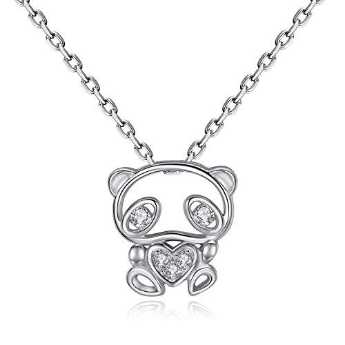 VIKI LYNN - Collana da donna a forma di orso panda in argento Sterling 925 con zirconia cubica