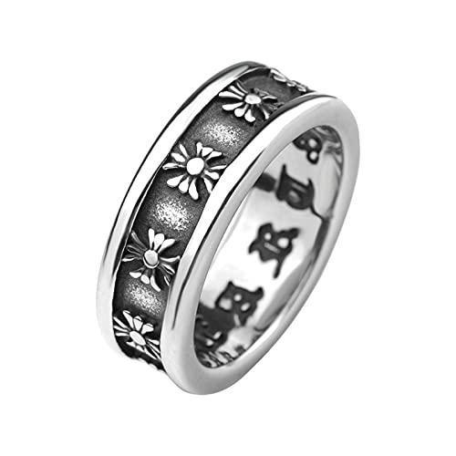 SPACELQ Anillo de acero de titanio para hombre, estilo punk, estilo europeo y americano, estilo retro punk rock cruz anillo moda joyería