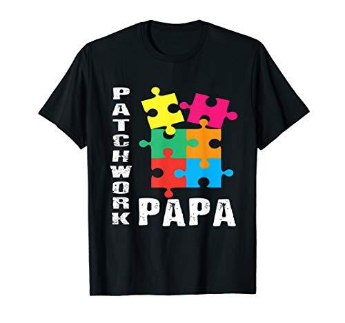 Herren Patchwork Bester Papa Puzzle Farbenfroh Cooles Geschenk T-Shirt