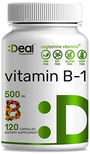 Vitamin B1 500mg (Thiamine), 120 Capsules - 4 Month Supply, Promotes Energy Production & Supports Nervous System, Non-GMO, No Gluten, Made in USA