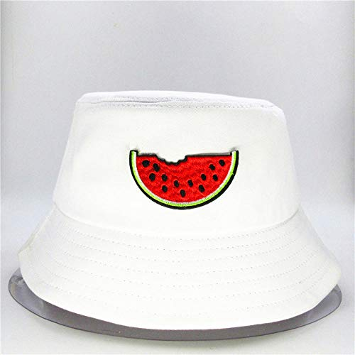 Bucket Hat Watermelon Fruit Embroidery Bucket Hat Fisherman Hat Outdoor Travel Hat Sun Cap Hats For Men And Women-White