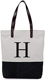 [ INITIAL - A to Z ] Embroidered Monogram Name Duotone BLACK Women Casual Canvas Shoulder Bag Messenger Zipper Tote Bags