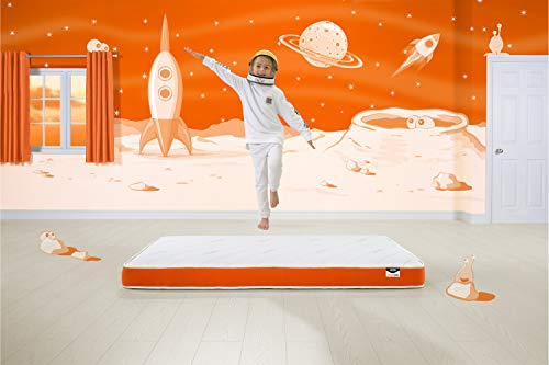 JAY-BE Simply Kids Foam Free Sprung Mattress, Steel Spring, White/Orange, Single