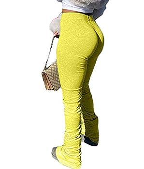 ECHOINEStacked Legging for Women - CasualRuchedDrawstringBellBottomRuffleTrousersSkinny TightsSweatpants