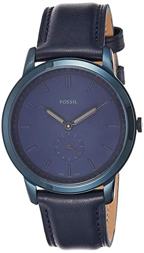 Fossil Men's The Minimalist-Mono Stainless Steel Analog-Quartz Watch with Leather Calfskin Strap, Blue, 20 (Model: FS5448)