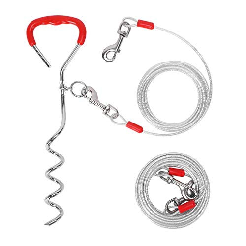 KOOLTAIL Dog Tie Out Cables and Stake - 30 Ft and 15 Ft Dog Yard Leashes and Stake Set for Medium to Large Dogs Up to 125 lbs, 16 Inches Sturdy Stake Spiral Anchor for Outdoors Camping Garden