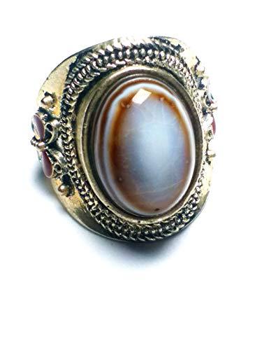 Anillo ajustable de plata de ley con ágata para el mal de ojo, estilo vintage