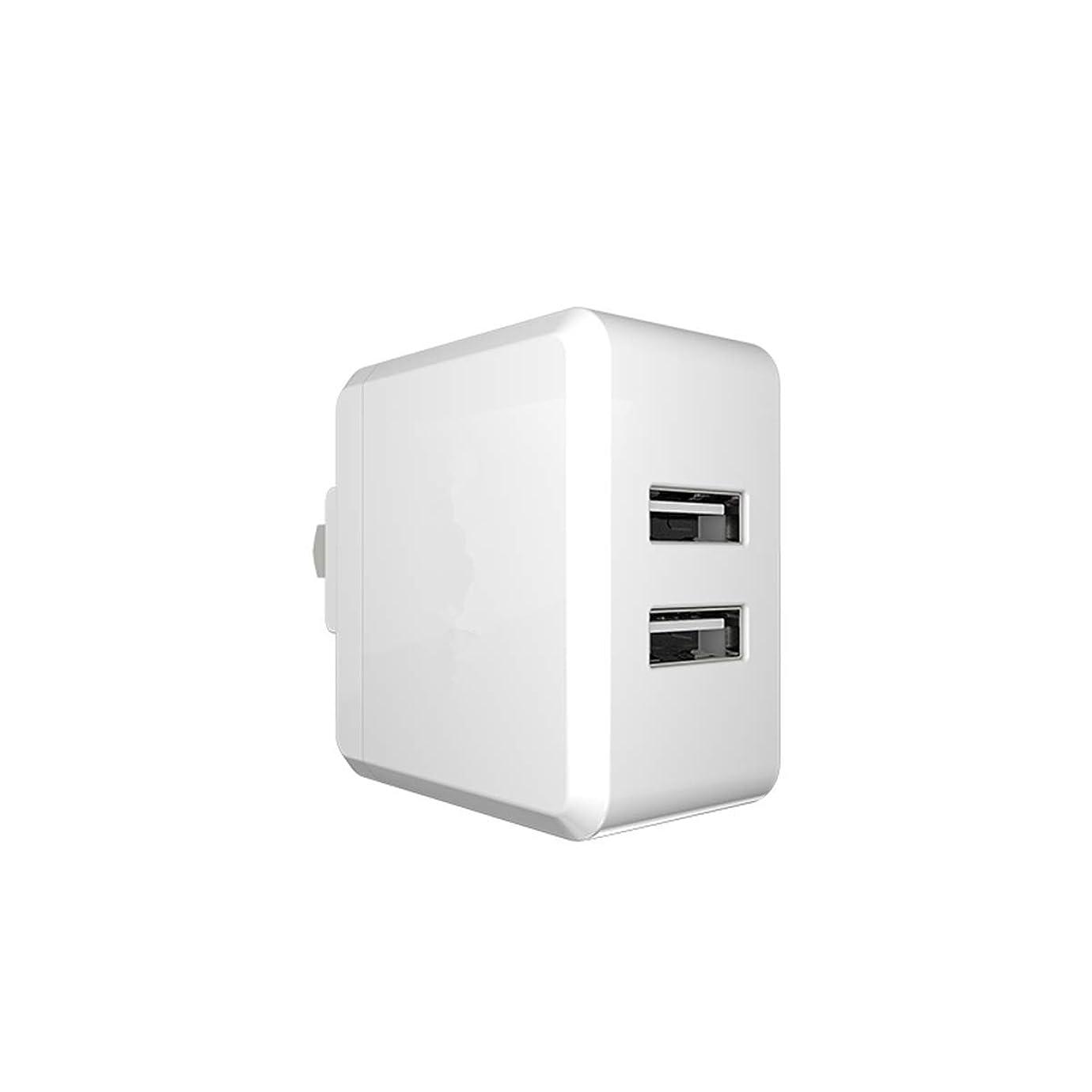 スタウト地理骨折FC-工場 USB充電器 ACアダプター 2ポート 最大出力5V,2.4A 24W アダプタ 【超コンパクトサイズ/急速/折畳式プラグ】 持ち運び便利、旅行用 iPhone/iPad/Android 等のUSB機器対応
