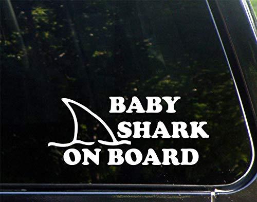 Diamond Graphics Baby Shark On Board (8-3/4' X 3-3/4') Die Cut Decal Bumper Sticker for Windows, Cars, Trucks, Laptops