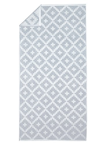 framsohn 7984 Rauten Graphics Badteppich, Baumwolle, Silber/Beige Gemustert, 67 x 120 x 0,8 cm