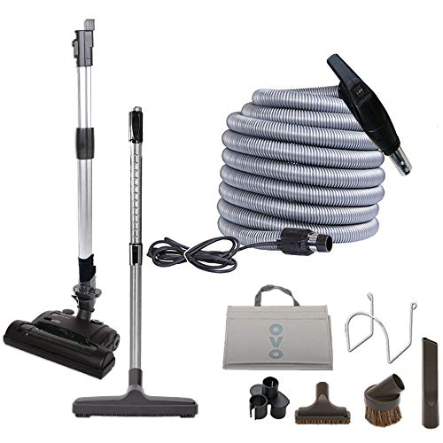 Ovo Vacuum Attachment Kit With Adjustable Height Electric Carpet Head Brush Set Including 35ft Central Vac Dual Votage Switch Control Hose, Black and grey