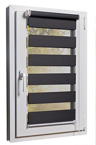 TEXMAXX Fensterrollo Doppelrollo Duorollo Sonnenschutz Sichtschutz mit Kettenzug und Klemmfix in GRAU, mit komplettem Zubehör und Weissen Leisten, 105cm x 150cm