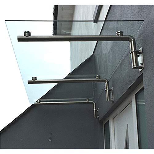 MonsterShop Glazen Luifel - Deur overkapping - Glas RVS - 120cm B x 80cm D