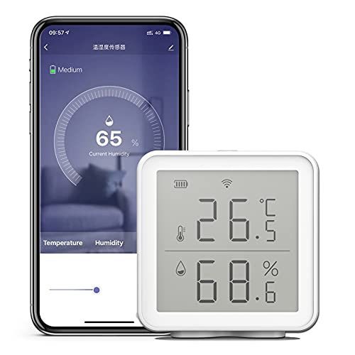 WIFI Termoigrometro ambiente digitale con allarme, Igrometro Termometro wireless, Rilevatore temperatura e umidità compatibile con Alexa/Google Home,Smart Life/Tuya APP