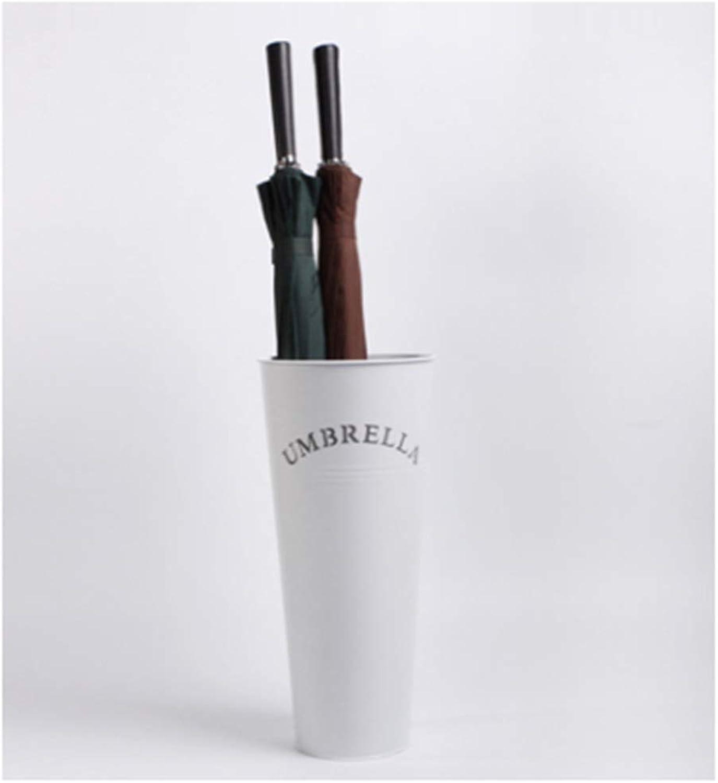 Achang Creative Moisture-Proof Wrought Iron Umbrella Storage Bucket Home Fashion Bright Conical Umbrella Stand (color   White)