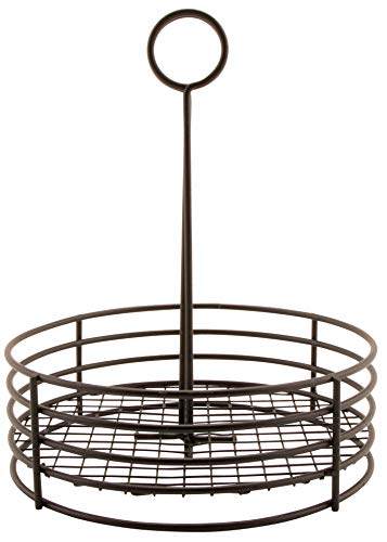 G.E.T. Enterprises Black Round Stainless Steel Condiment Caddy Iron Teflon Coated Table Caddies Collection 4-31850 (Pack of 1)