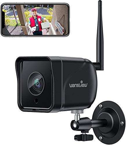 Wansview 1080P Telecamera di Sorveglianza WiFi, Telecamera WiFi Esterna IP66, Telecamera di Sicurezza con Rilevamento di movimento, Audio Bidirezionale, ONVIF e RTSP, Funziona con Alexa W6 Nero