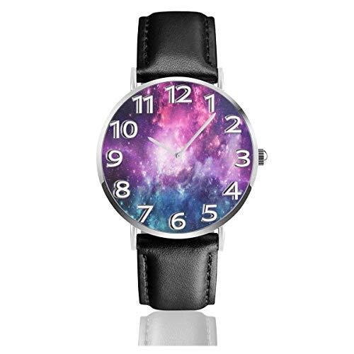 Reloj de Pulsera Universe Filled Stars Galaxy Colorful Purple Durable PU Correa de Cuero Relojes de Negocios de Cuarzo Reloj de Pulsera Informal Unisex