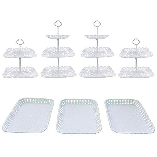 Set of 7Pcs 3Tier Square 2Tier Square Cake Stand Party Food Server Display Stand with Rectangle Plastic Serving Trays for Wedding Birthday Party Square