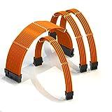 LINKUP - Cable con Manguito - Prolongación de Cable para Fuente de Alimentación con Kit de Alineadores┃1x 24P (20+4) MB┃1x 8P (4+4) CPU┃2X 8P (6+2) GPU┃50CM 500MM - Naranja