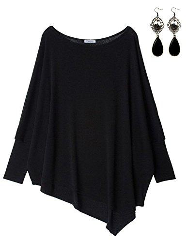 Sitengle Damen Langarmshirt Blusen Asymmetrisch Solide T shirt Casual Loose Rundhals Langshirt Oberteil Tops, Schwarz, One Size=EU 34-46