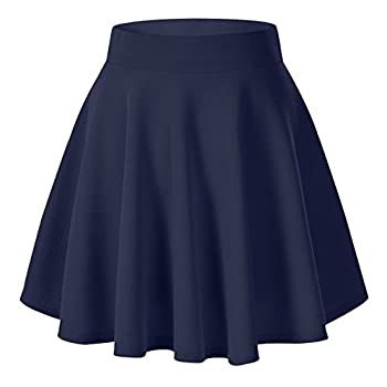 Urban CoCo Women s Basic Versatile Stretchy Flared Casual Mini Skater Skirt  Small Navy Blue