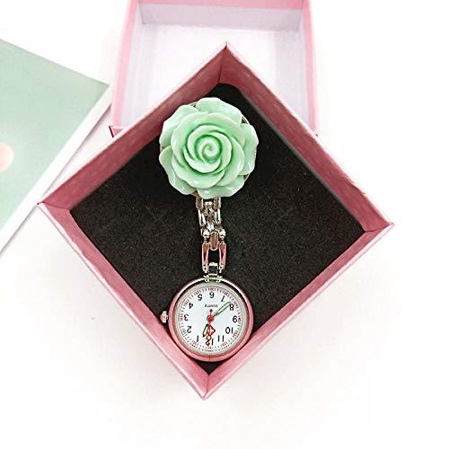 Cxypeng Taschenuhr für Krankenschwestern,Blumen-kreative Krankenschwester-Uhr, Quarz-Digital-Taschenuhr-Geschenkbox-Grün + Geschenkbox,Schwesternuhr Pulsuhr