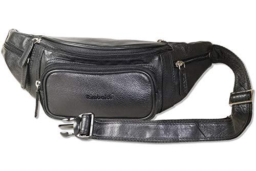 Rimbaldi® Große Bauchtasche mit enorm viel Platz durch ein Extra-Vorfach aus weichem, hochwertigem Rind-Nappaleder in Schwarz