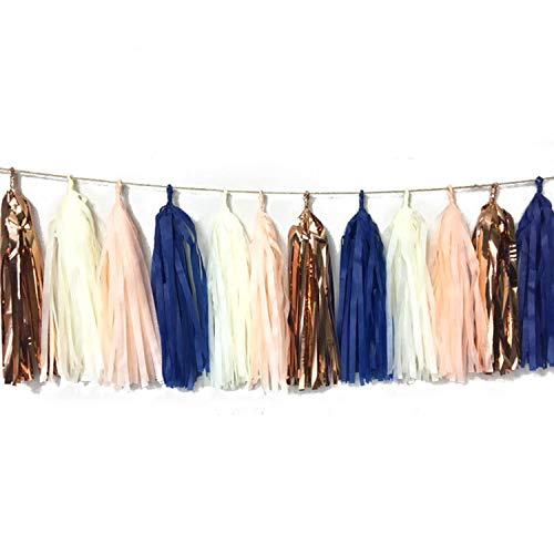 4-Pack Navy Peach Rose Gold Cream DIY Tissue Paper Tassel Garland Banner Party Streamers for Nautical Baby Shower Wedding Bridal Shower Bachelorette Party Birthday Photo Backdrop Nursery Decor