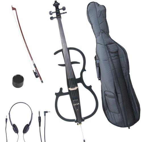 Cecilio CECO-2BK Ebony Electric Silent Metallic Black Cello in Style 2, Size 4/4 (Full Size)